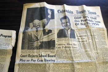 Columbia Basin News ran a photo of President Dwight Eisenhower waving at the dedication of nearby McNary Dam in 1954.