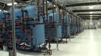 The interior of a pump-and-treat system along the Columbia River at the Hanford Site. With the push of a button, workers can now power the site's five systems along the river that are working to extract and treat contaminated groundwater.