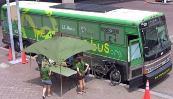 The Big Green Bus rolled into Washington, D.C., and parked outside the Department of Energy offices Monday to showcase its clean energy features. | Photo Courtesy of Joshua Delung |