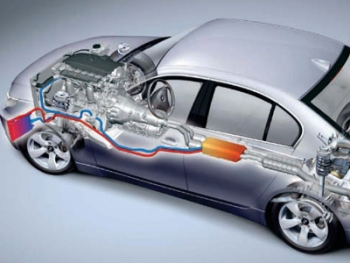 This image shows how a thermoelectric generator would be placed in a passenger car.   Photo courtesy of BMW