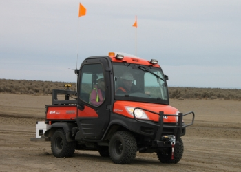 Workers use this mobile survey vehicle in American Recovery and Reinvestment Act work at the Hanford site to survey remediated areas for radiological contamination.