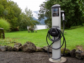 This ChargePoint station is located in the Columbia River Gorge National Scenic Area in Stevenson, WA, -- an area that is adjacent to the city's shops, restaurants, spas and art galleries. | Photo courtesy of Port of Skamania.