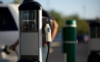 An electric charging station for electric vehicles is located at the Hanford site.