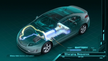An illustration of the 2011 Chevy Volt, whose lithium-ion battery is based on technology developed at Argonne National Laboratory. | Image courtesy of General Motors.