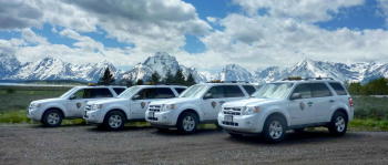 These hybrid Ford Escape vehicles at Grand Teton National Park were purchased with support from the Clean Cities National Parks Initiative. Photo   NREL