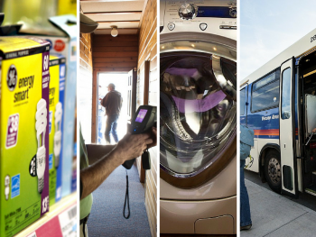 We're thankful for energy-efficient light bulbs, home energy audits, ENERGY STAR appliances, and using public transportation.   Photos courtesy of the National Renewable Energy Laboratory
