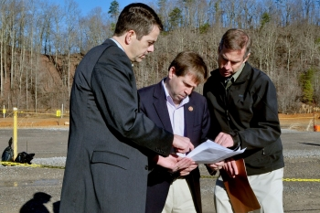 Tennessee's third district Representative Chuck Fleishman receives updates about EM projects in Oak Ridge from OREM Manager Mark Whitney and Jason Darby, an OREM senior project manager.