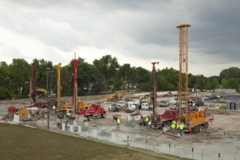 Workers drill boreholes for a geothermal heating and cooling system at Ball State University's campus in Muncie, Ind. | Photo courtesy of Ball State University