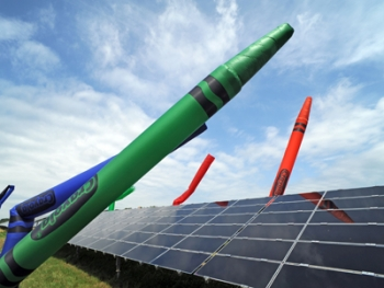 "The Crayola solar farm became fully operational this week. Ten children from around the country, known as the ""Crayola Green Team,"" helped dedicate the newest addition to the Easton, Pa.-plant. Photos courtesy of Crayola. 