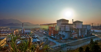 Nuclear power plants like the twin Daya Bay reactors, yield large amounts of electron antineutrinos -- millions of quadrillions of them every second.   Photo Courtesy of Roy Kaltschmidt, Lawrence Berkeley National Laboratory