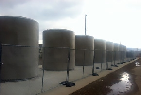 The first group of eight concrete storage casks for the West Valley Demonstration Project's high-level waste.