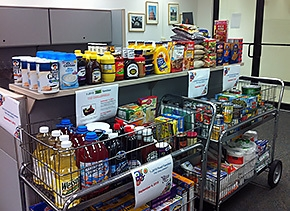 Pictured are donations the Office of Human Capital at EM headquarters provided to the campaign.
