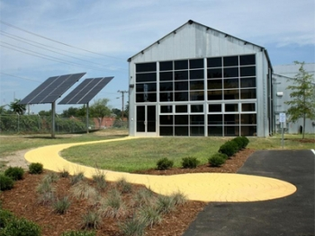Richmond and Chesapeake Bay Railway Car Barn will serve as an example of green building in the community.   Photo by Julie Wescott Weissend