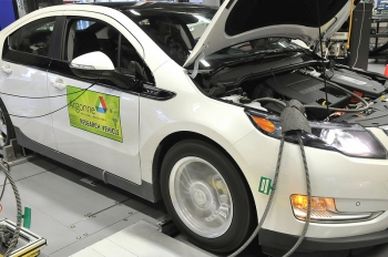 At Argonne's Advanced Powertrain Research Facility, researchers conduct vehicle benchmarking and testing activities that provide data critical to the development and commercialization of next-generation vehicles.  Photo courtesy of Argonne National Laboratory