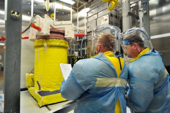 A new enclosure for processing radioactive casks has put Oak Ridge on a path to finishing cleanup work two years ahead of schedule, saving nearly $20 million.   Photo courtesy of the Office of Environmental Management.