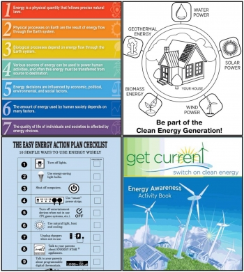 """The Energy Department has several free resources that help educators teach students about clean energy including (clockwise, from top left) the <a href=""""http://energy.gov/eere/education/downloads/get-free-copy-energy-literacy-framework"""">Energy Literacy Framework</a>,  the <em>Get Current</em> <a href=""""http://www1.eere.energy.gov/education/pdfs/coloringbook_2010.pdf"""">Coloring Book</a>, <a href=""""http://www1.eere.energy.gov/education/pdfs/activitybook_2010.pdf"""">Energy Awareness Activity Book</a>, and <a href=""""http://www1.eere.energy.gov/education/pdfs/energyactionlist.pdf"""">Energy Action Checklist</a>."""
