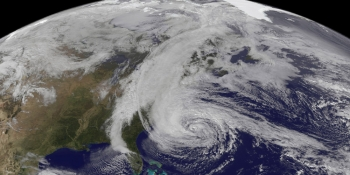 A hurricane over the Atlantic Ocean, as seen from space by a satellite. Storms like these are projected to become more frequent as the effects of climate change worsen.   Energy Department file photo.