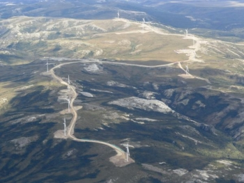 An aerial view of Eva Creek Wind Farm, which started generating electricity last year.  | Photo courtesy of Golden Valley Electric Association