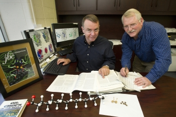 John Shanklin, biochemist at Brookhaven National Laboratory, and Ed Whittle, research assistant in Shanklin's lab, with a fatty acid molecule model and plant seeds and casings in the foreground. | Courtesy of Brookhaven National Laboratory