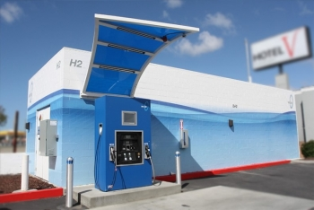 A hydrogen fueling station in San Francisco.   Photo courtesy of the California Fuel Cell Partnership