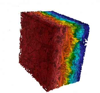 A simulation of pressure applied to felt used to absorb water in a paper drying process is one of the projects that received funding from the Department of Energy. | <em>Photo courtesy of David Trebotich/Lawrence Berkeley National Laboratory</em>
