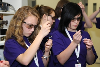 Students practice hooking out -- or removing -- DNA from a strawberry sample at Idaho National Laboratory. | Photo courtesy of INL.
