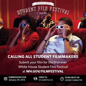 WhiteHouse.Gov/FilmFest has the full scoop on the first-ever White House Student Film Festival. Learn more, read the official rules, see how to submit your video, and hear from Bill Nye (the Science Guy).
