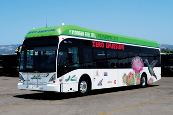 Zero Emission Bay Area (ZEBA) -- a group of regional transit agencies in Northern California -- operates twelve, zero-emission, fuel cell buses in real-world service throughout the Bay Area's diverse communities and landscapes.    Photo courtesy of Leslie Eudy, NREL.