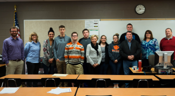 Carla Evans' Advanced Environmental Science class participated in the Ohio University Student ASER Program this year. Some of those students are pictured here with representatives of the U.S. Department of Energy, Waverly Schools, Ohio University, Fluor-BWXT and Restoration Services, Inc.