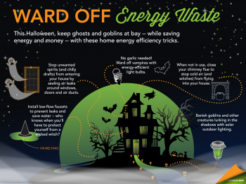 This Halloween, keep energy vampires at bay -- while saving energy and money -- with these home energy efficiency tricks.   Infographic by Sarah Gerrity, Energy Department