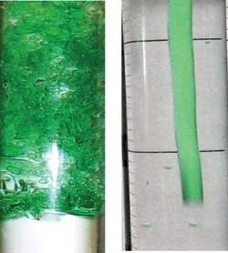 At left, highly turbulent behavior as water flows into (clear) oil. At right, all turbulence is suppressed by using cornstarch.   Department of Energy Photo   Courtesy of Lawrence Livermore National Laboratory   Public Domain