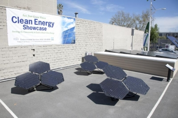 Solar panels on display at the the San Jose Solar and Energy Efficiency Fair   Photo credit: Stacy H. Geiken Photography