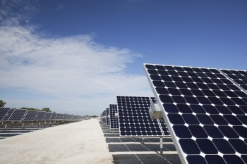 Sec. Chu Announces More 'SunShot' Details.   Department of Energy Photo   Courtesy of National Renewable Energy Laboratory   Public Domain  