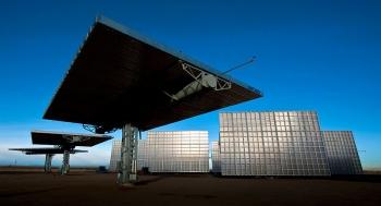 The Amonix 7700 CPV Solar Power Generators at the SolarTAC facility in Aurora, Colorado.  | Photo credit: Dennis Schroeder, National Renewable Energy Laboratory staff photographer
