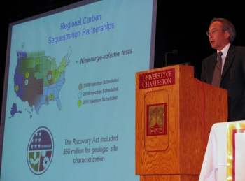 Sec. Chu speaks about carbon capture and sequestration. | Energy Department Photo