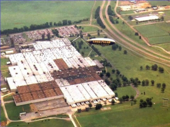 The Goodyear Blimp flies over Goodyear's tire plant in Union City, Tenn. | Photo courtesy of Goodyear