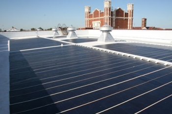 View of the solar panel system atop Warren Easton Senior High School in New Orleans. | Photo courtesy of Entergy Corp