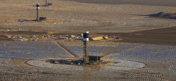 The Ivanpah Solar Energy Generating System was dedicated on Thursday, February 13, 2014.   Photo courtesy of Mingasson/Getty Images for Bechtel.