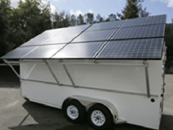 Solar generators like this one will provide electricity to Houston residents after hurricanes and other emergencies. | Photo Courtesy of City of Houston