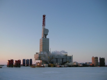 """DOE participated in gas hydrate field production trials in early 2012 in partnership with ConocoPhillips and the Japan Oil, Gas and Metals National Corp at the Iġnik Sikumi (Inupiat for """"Fire in the Ice"""") test well, shown here, on the north slope of Alaska. Datasets from that field trial are now available to the public."""