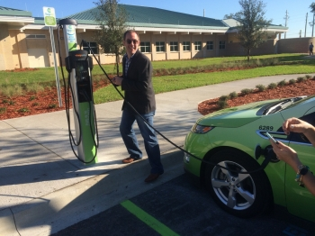 An EV charger installed thanks to the North Florida Clean Fuels' new ChargeWell program. | Photo courtesy of Clean Cities