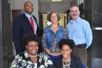 (Front, left to right) Lacey Wicks, junior at Jackson State University in Mississippi; JeTara Brown, senior at Tennessee State University (Back left to right) Daryl Green, HBCU-MSI coordinator for OREM; Susan Cange, acting OREM manager; Jay Mullis, acting OREM deputy manager