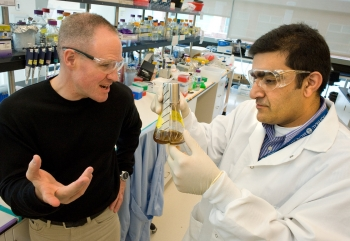 Jay Keasling (left), speaks with Rajit Sapar at the Joint BioEnergy Institute in 2013. Keasling co-founded Lygos, which received funding through the Energy Department's Small Business Innovation Research for a biofuel project.  | Photo by  Lawrence Berkeley National Laboratory