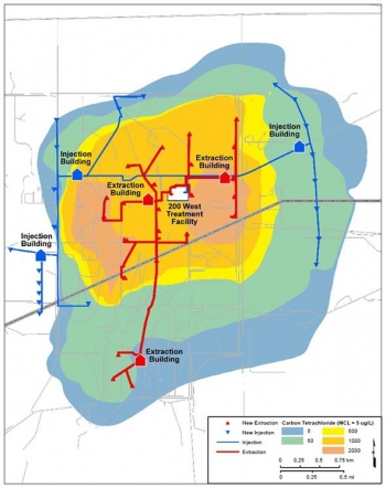 A graphic showing the 200 West Pump and Treat plumes and well network.