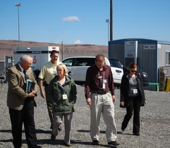In this photo, U.S. Sen. Patty Murray (D-Wash.) receives an update on activities at C Farm from Office of River Protection (ORP) Manager Kevin Smith, left, and ORP Tank Farms Assistant Manager Tom Fletcher.