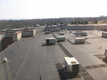 The roof of the justice center where a solar panel array will be installed to power a solar thermal water-heating system | Photo courtesy of Blount County, Tenn.