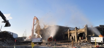 Workers completed the demolition of the north end of the K-25 Building today.
