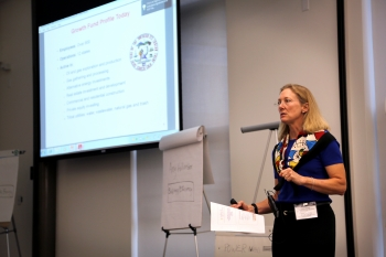 Workshop guest speaker Rebecca Kauffman outlined the roles Tribes can play in renewable energy projects, as well as lessons learned based on her experience working on projects for the Southern Ute Tribe. Photo by Amy Glickson, NREL