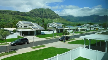 Set in the Waianae Valley of Oahu, Kaupuni Village is the first net-zero energy affordable housing community in Hawaii.  Photo by Ryan Siphers / Group 70, NREL 20155