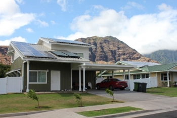 All Kaupuni Village homes incorporate energy efficiency and renewable energy technologies to achieve net-zero energy consumption.   Photo by Ken Kelly, NREL 20154